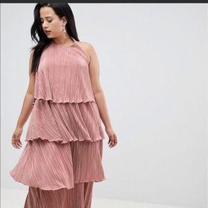 Curve tiered plisse maxi skater dress